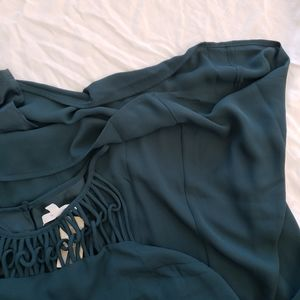 MAURICE teal strappy short dress.